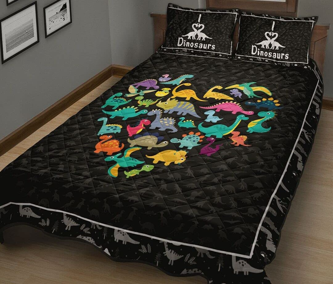 Personalized Dinosaurs Heart Cartoon Style Bed Quilt Bombing free shipping Cheap mail order specialty store Set S