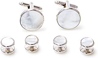 Mother of Pearl Cufflinks and Studs Tuxedo Set in a Presentation Gift Box & Polishing Cloth