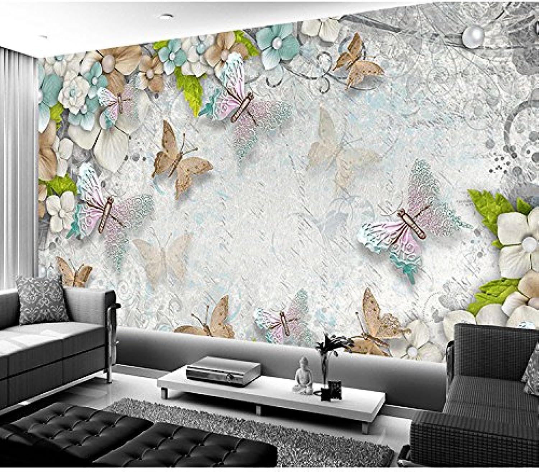 Yosot Costumbre 3D Photo Papel Pintado Fashion Crystal Butterfly Flower 3D Murales Papel Pintado Living Room Wall Murals Papel Pintado-200Cmx140Cm