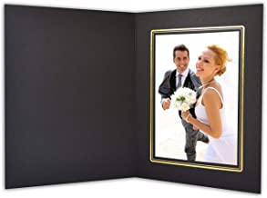 Golden State Art, Acid-Fre Photo Folders for 5X7 Photo,Pack of 50 Black with Gold Lining Cardboard/Paper Frames,Great for Portraits and Photos,Special Events: Graduation,Wedding,PF014