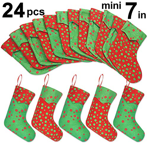 Ivenf Christmas Mini Stockings, 24 Pcs 7 inches Glitter Round Dots Stockings, Gift Card Bags Holders, Bulk Treats for Neighbors Coworkers Kids Cats Dogs, Small Rustic Red Xmas Tree Decorations Set