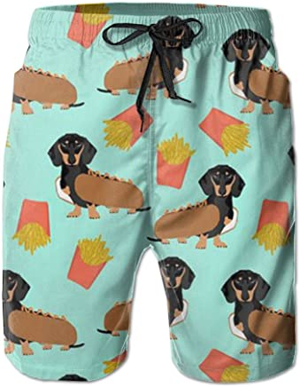 fb27d4c4d5d06 PPANFKEI Sausage Dog Dachshund Mens Breathable Board Shorts Loose Fit With  Liner Swim Jogger Shorts