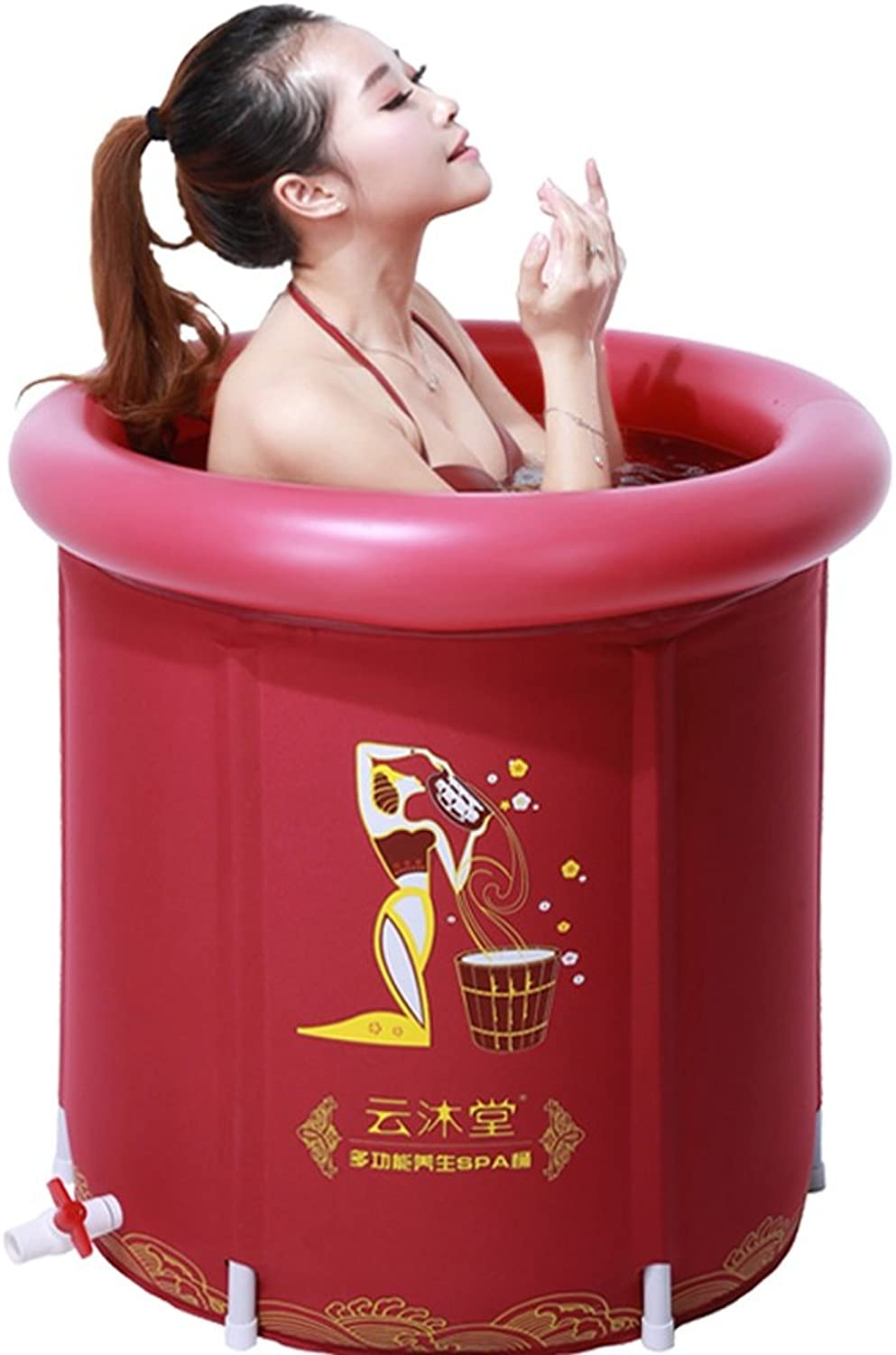 Ali@ Eco PVC Pink Adult Bath Inflatable Bathtub for Indoor Outdoor Use