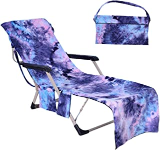 Lmeison Beach Chair Cover, Chaise Lounge Towel Cover Beach Towel with Storage Pockets for Pool, Sun Lounger, Hotel, Vacation, Holidays Sunbathing, Purple Tie-Dye (82.5