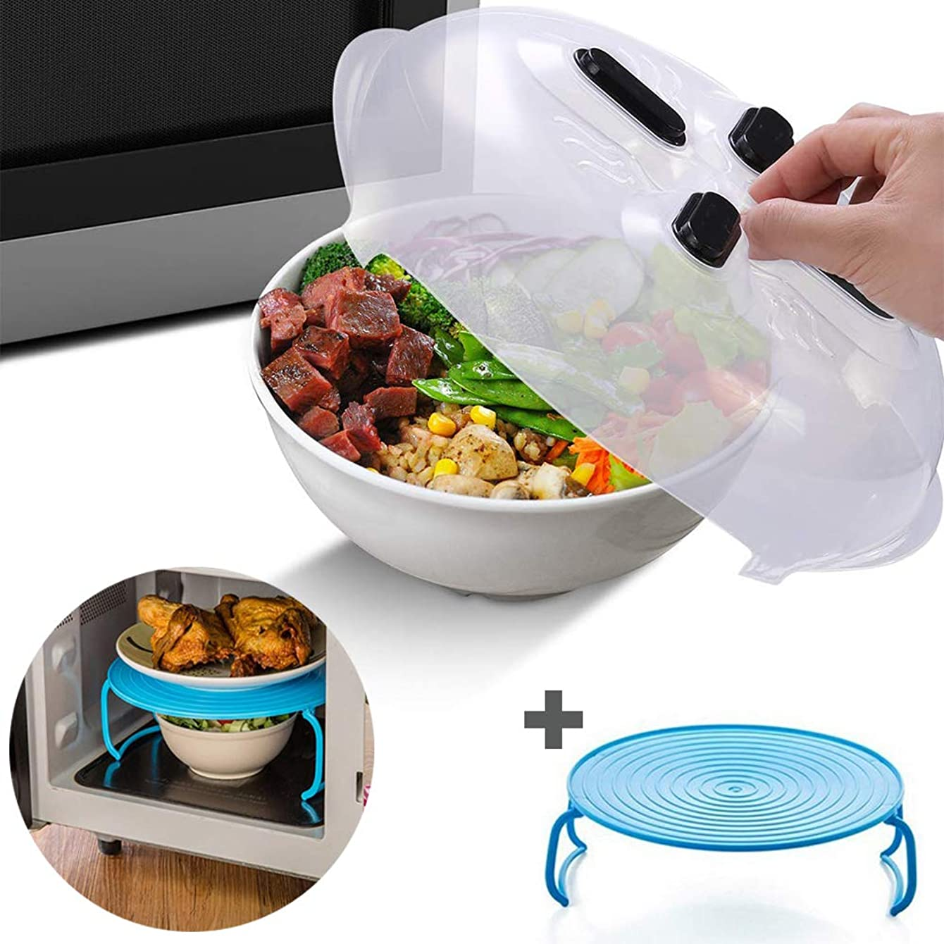 Magnetic Microwave Cover Splatter Guard Lid with Steam Vent for Stainless Steel Microwaves–Full Plate Coverage–Hover– Dishwasher Safe- Anti-Sputtering