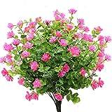 GKONGU Fiore Artificiale 4 Pezzi Bouquet di eucalipto Piante Verde, Fiori Finti di eucalipto Resistente ai Raggi UV per Interni Esterni Home Office Giardino Decorazione di Nozze (Rosa)