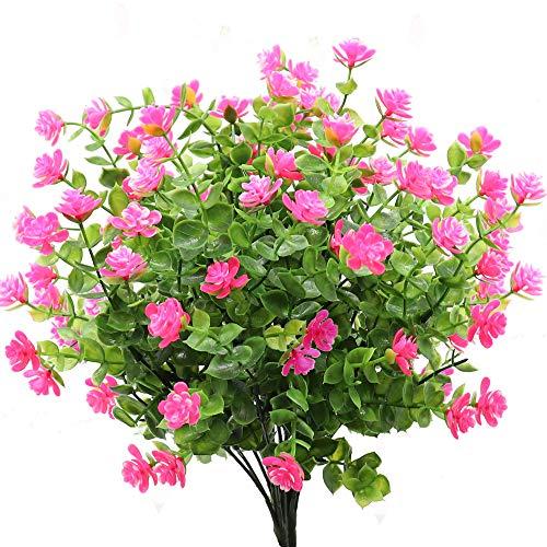 GKONGU Flor Artificial 4 Piezas Ramo de eucalipto Plantas Verdes, Flores Falsas de eucalipto Resistente a los Rayos UV para Interior al Aire Libre hogar Oficina jardín decoración de la Boda (Rosa)