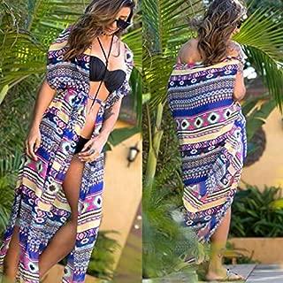 BEESCLOVER Swimsuit Cover Up Women Beach Cover-Ups Chiffon Long Dress Solid Beach Cardigan Bathing Suit Cover Up Bikini