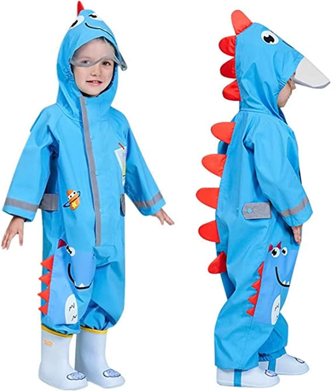 Kids One Piece Rainsuit Raincoat Boys Girls Rainwear Hooded Unisex Puddle Suits 3D Pattern Waterproof Poncho Transparent Hat Reflective Stripes