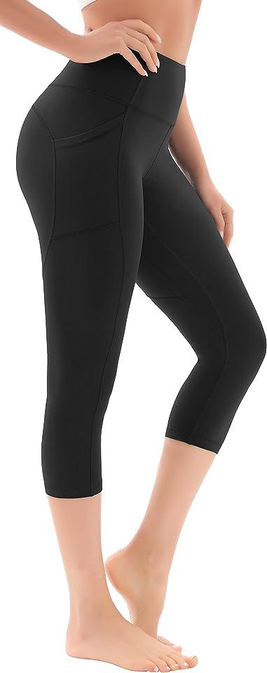 Damen 3/4 Sport Leggings, High Waist Sporthose Yoga Leggins Hose für Damen Sport Capri mit Taschen