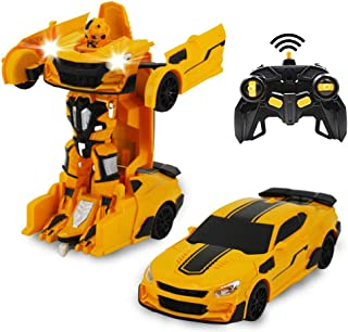 Remote Control Car, Transform Robot RC Car For Kids, 24Ghz Scale Model Racing Car With One Button Transformation, 360°Drif...