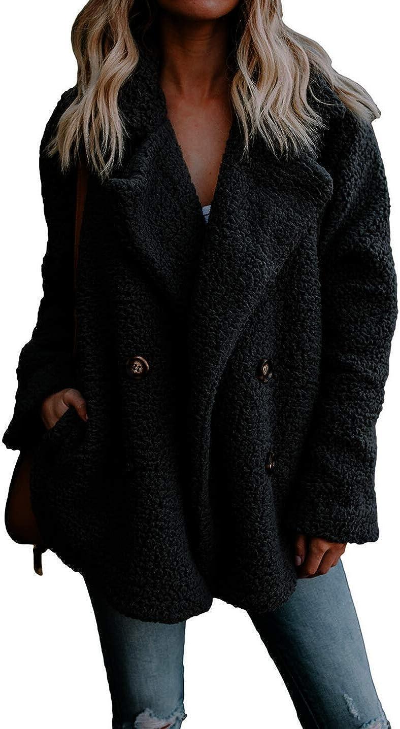 Shawhuwa Womens Fleece Fashion Open Front Cardigan Coat Jacket with Pockets Outwear Warm Winter