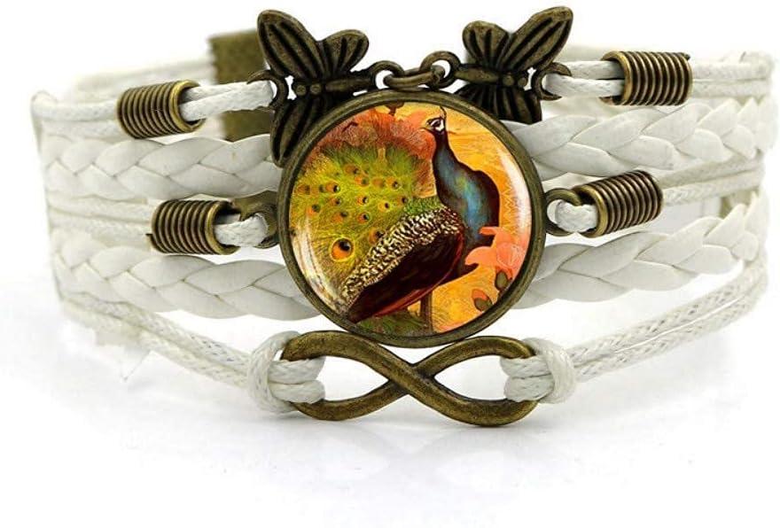 JUNWEN discount Woven Bracelet White Rope Br Animal Gemstone Time San Jose Mall Peacock