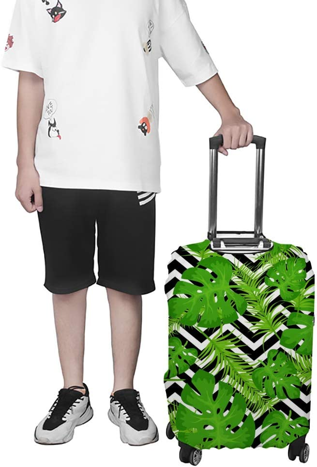 ZHONGJI Luggage Cover Thickened Washable Tropical Leaves White Black Geometric Polyester Fibe Elastic Foldable Lightweight Travel Suitcase Protector Fits 29-32 Inch