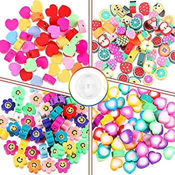 320 Pieces Colorful Polymer Clay Beads Fruit Beads Sun Flower Beads Happy Face Beads Love Heart Shape Beads with Crystal Elastic Cord for Jewelry Making DIY Necklace Bracelet Supplies