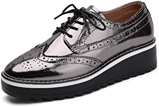 Gecatiso Women's Leather Lace-Up Wingtips Brogue Oxford Shoes