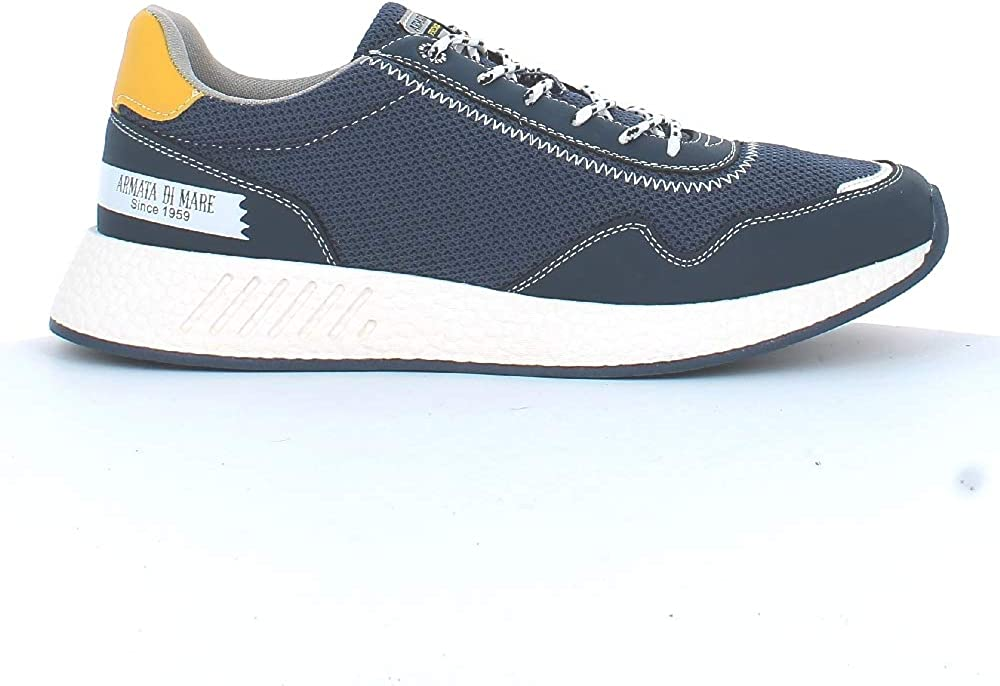 armata di mare,  scarpe per uomo, sneakers basse, in pelle sintetica e tela, blu amu p2l021b