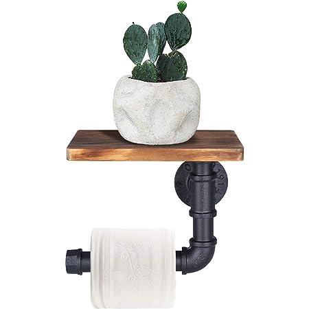 OROPY Porte Papier Toilette avec étagère, Porte Rouleau de Papier Toilettes Mural, Dérouleur papier toilette pour salle de bain, Style Industriel, Vintage, Rustique, Décoration de Maison