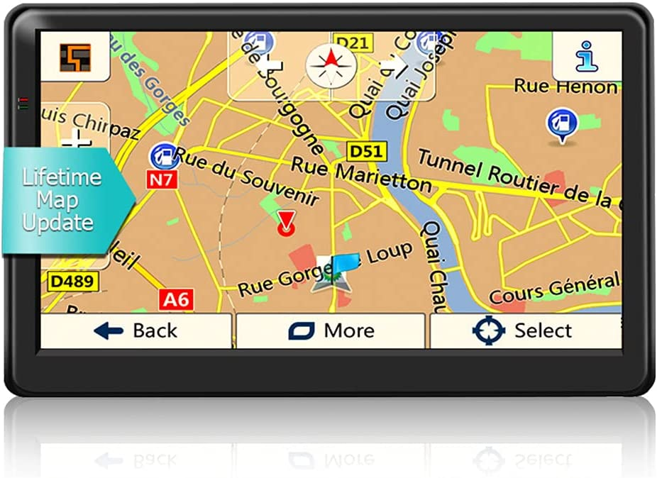 GPS Navigation for Car Truck 7 inch HD Screen GPS Navigator System Voice Broadcast Function and Speed Camera Warning,Driving Alert 2021 Latest Free Lifetime Maps (Balck-B)