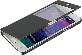 MTRONX para Funda Samsung Galaxy Note 4, Cover Case Carcasa Caso Ventana Vista Ultra Folio Flip Delgado PU Cuero con Cierre Magnetico para Samsung Galaxy Note 4 - Negro(MW-BK)