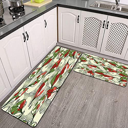 Juegos de alfombras de Cocina,CFLJTXP-65625,Antideslizantes Lavables de 2 Piezas Alfombra súper Absorbente
