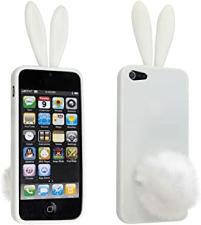 Leegoal Lovely Rabbit Silicone Bunny Case For iPhone 5 with Furry Tail - White