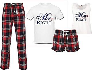 60 Second Makeover Limited Mr Right Mrs Always Right Couples Matching Pyjama Tartan Set Couples Pajamas Christmas Birthday