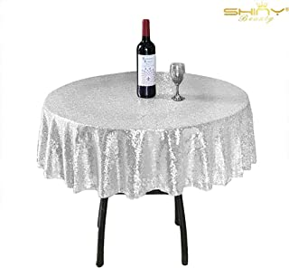 ShiDianYi Silver Sequin Tablecloth, Select Your Size, Silver Wedding Tablecloth, Silver Glitter Tablecloth, Silver Sparkly Tablecloth