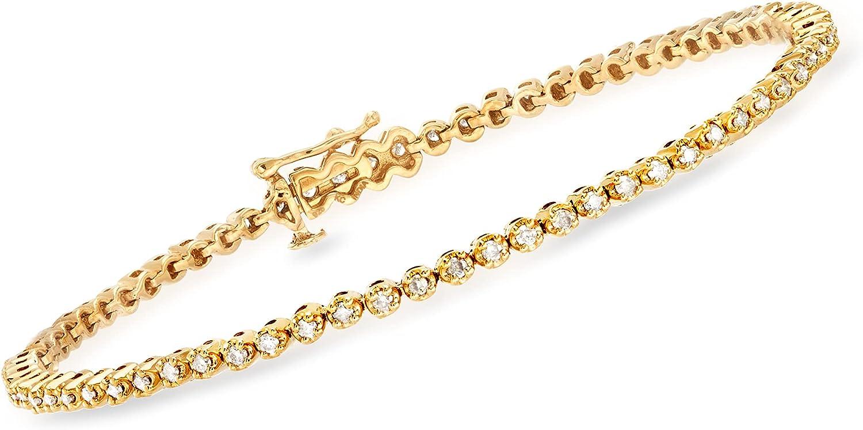 Ross-Simons 1.00 ct. t.w. Diamond Nippon regular agency Tennis 18kt unisex Bracelet Gold in O