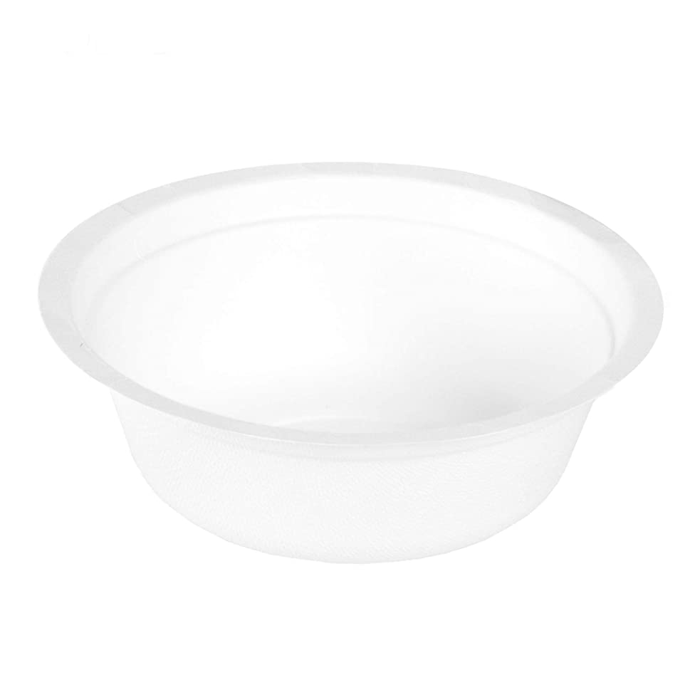 50 Disposable Biodegradable Bowls - 12oz White Compostable & Microwavable Tree Free Sugarcane Bowls, Bulk Set