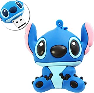 Novelty Stitch Blue Shape Design 64GB USB 3.0 Flash Drive Cute Memory Stick Stitch Thumb Drive Data Storage Pendrive Cartoon Jump Drive Gift