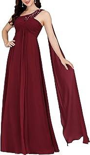 Ever-Pretty Abiti da Damigella Elegante Stile Impero Una Spalla con Nastro Senza Maniche Chiffon Donna 00537