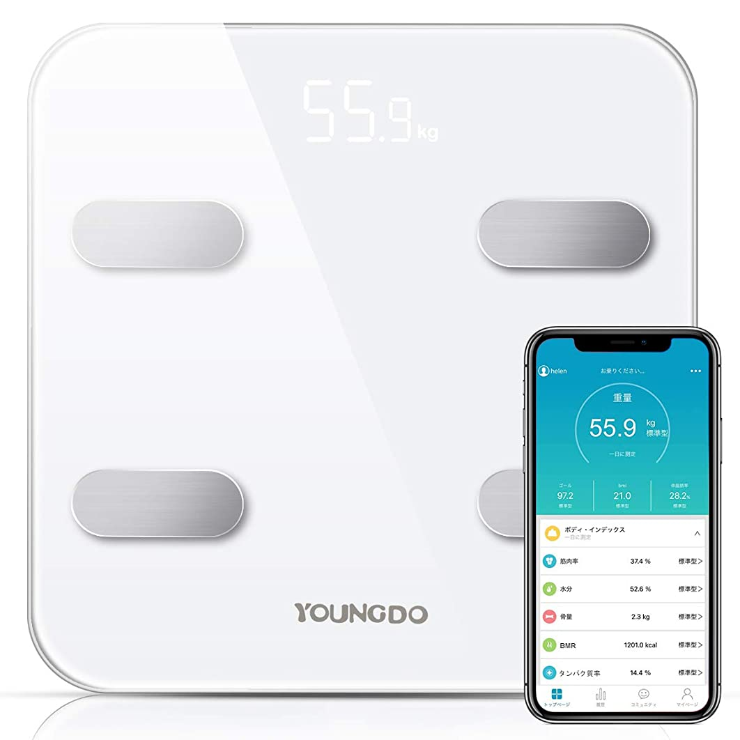 異なるシンボルぜいたく体重 体組成計 体脂肪計 YOUNGDO スマートスケール Bluetooth 体脂肪率 体水分率 筋肉率 骨量 内臓脂肪 蛋白質率 BMR(基礎代謝量) 体年齢 日本語アプリで同期分析 ホワイト