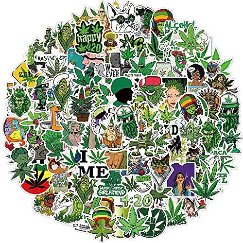 100PCS 50/100 unids / 108pcs Marihuana Stickers Stickers Portátil Guitarra Equipaje Impermeable A Estética Weed Graffiti Decal Packers Packs Kid Toy estéticas (Color : Multi)