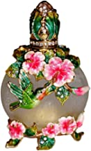 Kubla Crafts Bejeweled Hummingbird & Pink Flowers Austrian Crystal Enamel Perfume Bottle