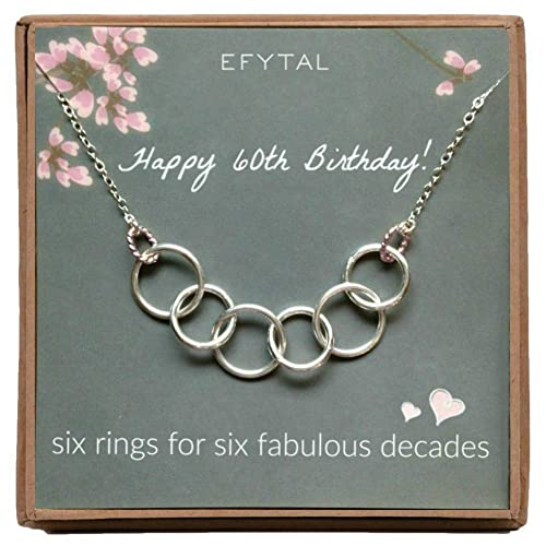 EFYTAL Happy 60th Birthday Gifts For Women Necklace Sterling Silver 6 Rings Six Decades Necklaces