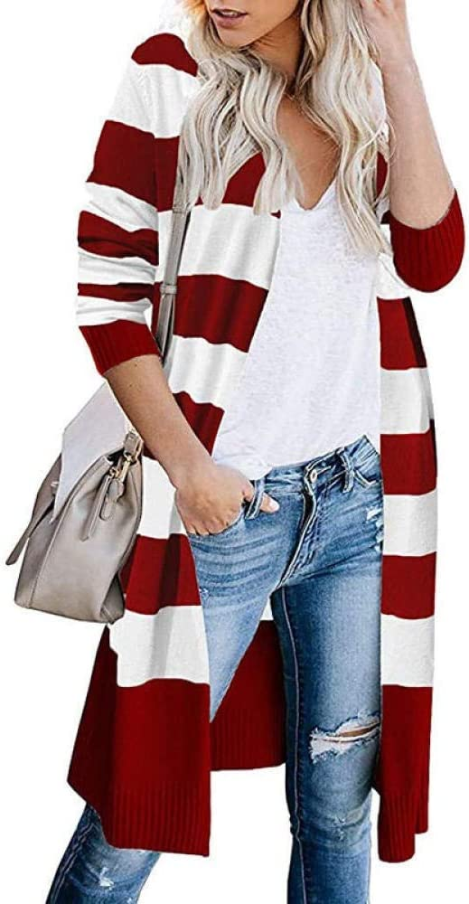 CHENGYYDP Cardigan Women's Long Sleeve Coat Sweater Contrast Stripes Long Cardigan Women's Sweater Front Open Cardigan (Color : Red, Size : L)