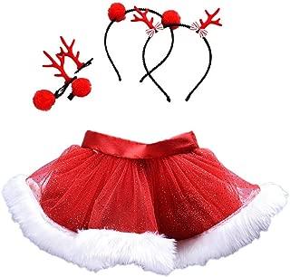 Baby Girls Dress,Baby Girls Kids Christmas Tutu Ballet Skirts Fancy Party Skirt + Hair Hoop Cute Skirts Set Halloween (Red, 5 Years)