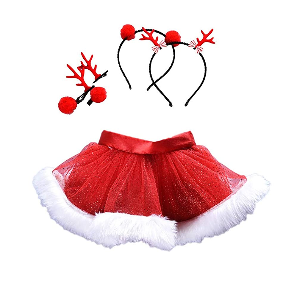 Sameno Baby Girls Kids Christmas Web Gauze Tutu Ballet Skirts Fancy Party Princess Dress+ Hair Hoop Set