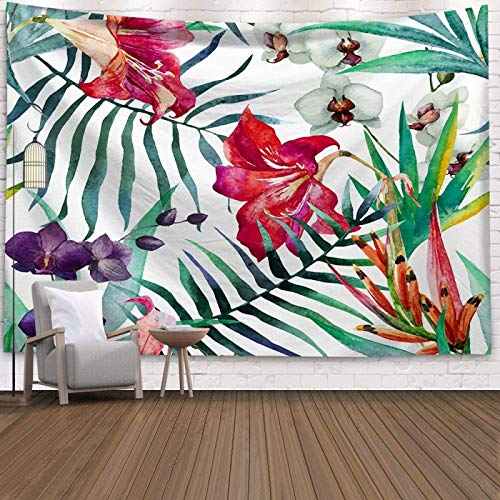 N/G Polyester Large Wall Hanging Tapestry Travel Camping Tapestry Bohemian Animal Yoga Mat Sleeping Large Green Plants Print Wall Tapestry Decoration Size (200 * 150cm)