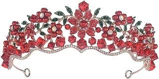 Red Wedding Crown Gold Bridal Tiara Queen Bride Crown Pageant Baroque Headband Princess Hair Jewelry