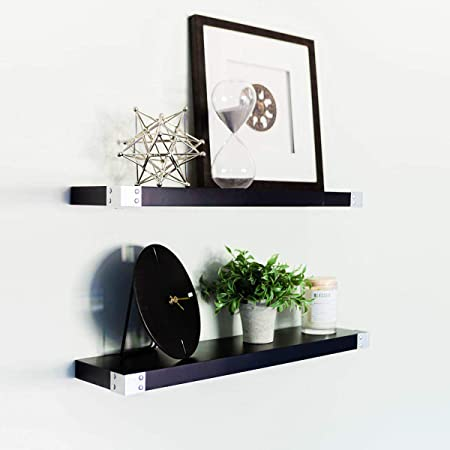 "Willow & Grace Black Floating Shelves - Silver Iron Corners, All Wood Wall Shelves, 3 Coat Lacquer Finish | Perfect Decorative Wall Shelf for Your Bathroom, Kitchen and Bedroom | Black (24"" Set of 2)"