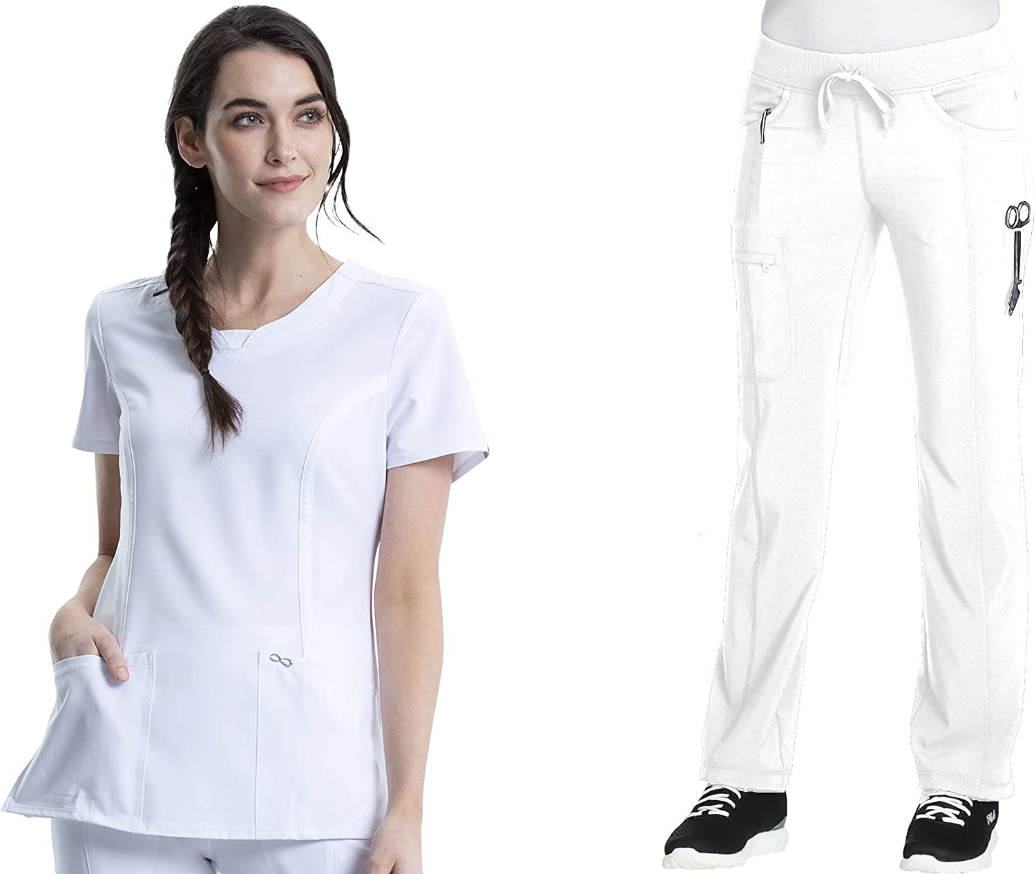 Infinity Max 53% OFF Credence Women Scrubs Set Round Drawstring Top Pant 2624A Neck
