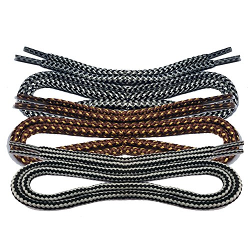 1 Paar runde Schnürsenkel für Bergschuhe und Arbeitsschuhe Bootlaces (150 cm, schwarz-graue Streifen)