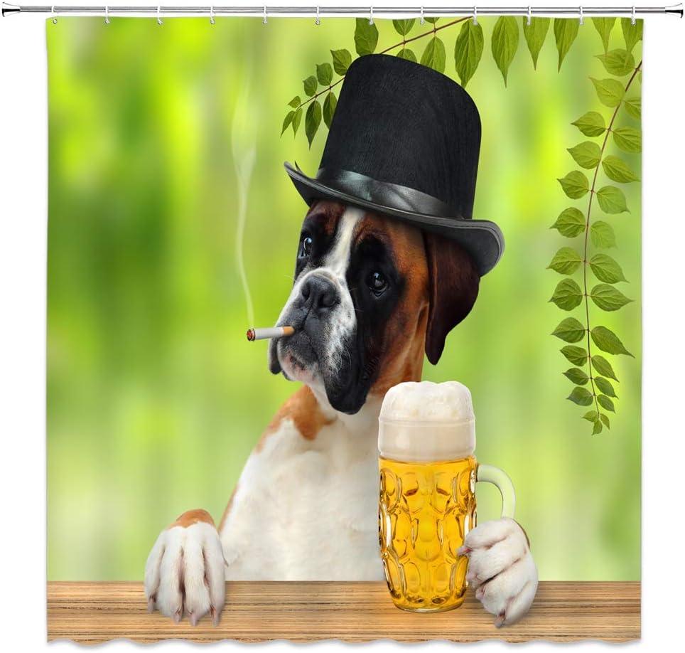 lovedomi Cortina Ducha para Perros y Mascotas Divertido Bulldog Fumador Lindo Animal Sombrero Negro y Cerveza Hojas Verdes Tela Decorativa Cortinas baño poliéster Impermeable Ganchos 72 x 72 Pulgadas