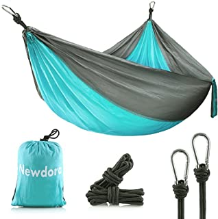 Newdora Camping Hammocks Garden Hammock Ultralight Portable Nylon Parachute Multifunctional Lightweight Hammocks with 2 X ...