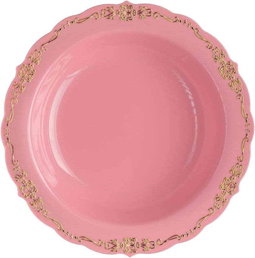 60 Pcs Disposable Plastic Bowls Dispo Victorian Charlotte Mall Max 65% OFF Premium Design