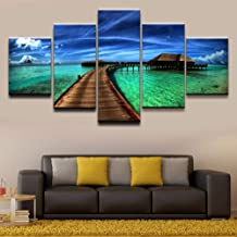Dxcclf Poster 5 Pieces Top-Rated Canvas Print Ocean Sky Tropical Modular Pictures Canvas Wall Art Home Decorative Painting Bedroom