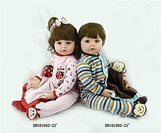 Zero Pam Soft Touch Reborn Toddler Dolls Silicone Vinyl Big Eyes Reborn Twins Baby Girls&Boys Dolls 24 inch/60 cm Fashion Twins Baby Birthday Gifts