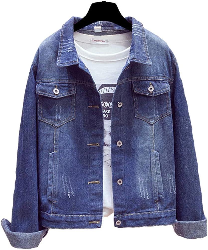 BlueFire2015 Women's Stretch Denim Jackets Casual Long Sleeve Jean Jacket with Pockets